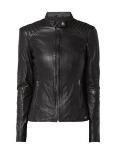 Czarna kurtka Tigha krótka w rockowym stylu z bawełny