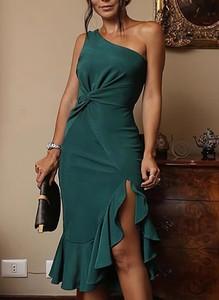 Zielona sukienka Cikelly mini z okrągłym dekoltem