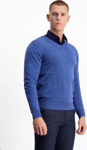 Niebieski sweter Lavard z tkaniny w stylu casual