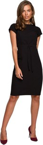 Czarna sukienka Style z okrągłym dekoltem midi z krótkim rękawem