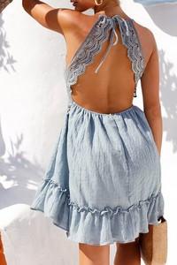 Niebieska sukienka IVET mini na ramiączkach