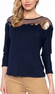 Granatowa bluzka POTIS & VERSO z długim rękawem z tiulu