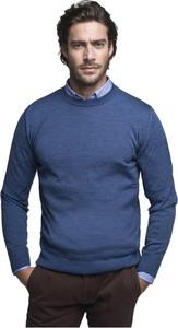 Niebieski sweter Borgio z okrągłym dekoltem z wełny