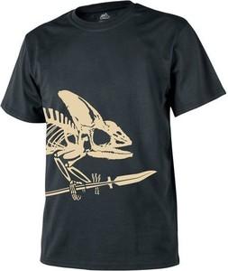 Czarny t-shirt HELIKON-TEX z krótkim rękawem z bawełny z nadrukiem