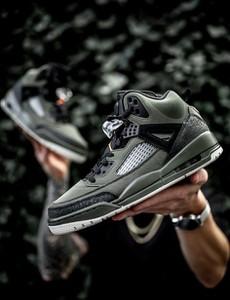 Zielone buty sportowe Jordan ze skóry sznurowane