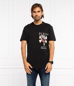 Czarny t-shirt Philipp Plein z krótkim rękawem z nadrukiem z bawełny