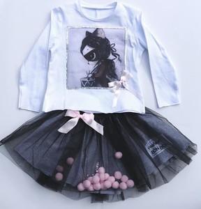 Czarna spódniczka dziewczęca e-lily.pl z tkaniny