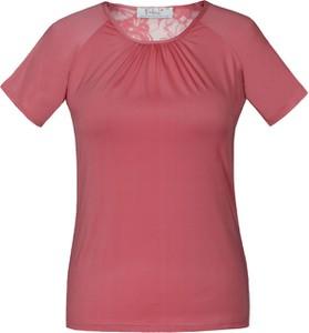 Różowa bluzka Fokus z dzianiny z okrągłym dekoltem z krótkim rękawem