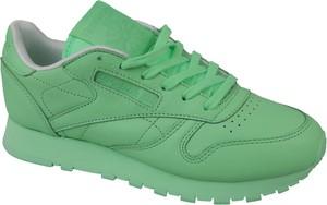 493a73dcea942 Zielone buty sportowe Reebok z płaską podeszwą ze skóry w sportowym stylu
