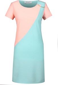 Sukienka Fokus z okrągłym dekoltem midi w stylu glamour
