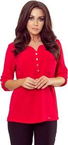 Czerwona bluzka NUMOCO z dekoltem w kształcie litery v z długim rękawem
