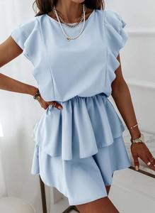 Niebieska sukienka Sandbella mini w stylu casual z krótkim rękawem