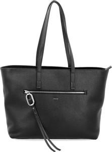 Czarna torebka Hugo Boss ze skóry na ramię