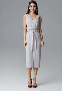 Sukienka Figl dopasowana midi z krótkim rękawem