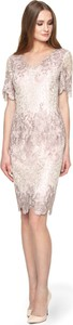 Sukienka POTIS & VERSO z tkaniny z okrągłym dekoltem dopasowana