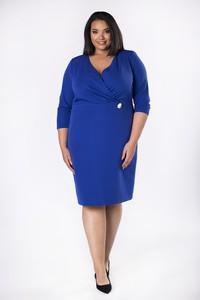 Niebieska sukienka Ptakmoda.com dopasowana z długim rękawem