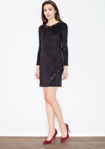 Granatowa sukienka Figl w stylu casual z zamszu z okrągłym dekoltem