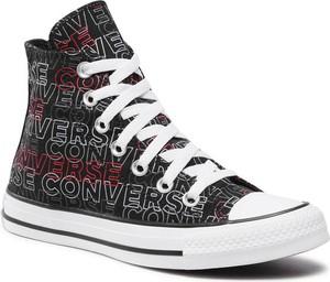 Czarne trampki Converse z nadrukiem w młodzieżowym stylu wysokie