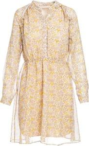 Żółta sukienka Multu w stylu casual z dekoltem w kształcie litery v dla puszystych