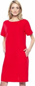Czerwona sukienka L'AF z krótkim rękawem z okrągłym dekoltem