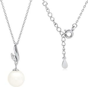 Valerio Rodowany srebrny naszyjnik gwiazd celebrytka perła perełka biała cyrkonia srebro 925 Z1596N