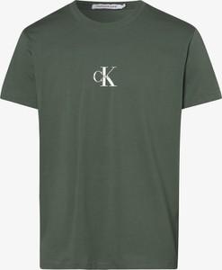Zielony t-shirt Calvin Klein w młodzieżowym stylu z krótkim rękawem z dżerseju