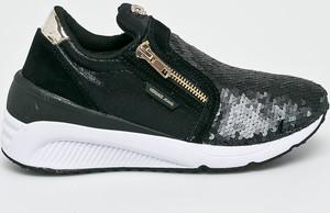Czarne buty sportowe Versace Jeans z płaską podeszwą