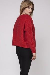 Czerwony sweter Mkm Swetry w stylu casual