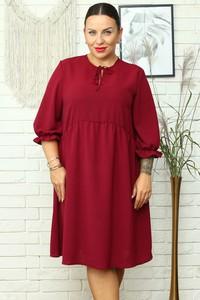 Czerwona sukienka KARKO w stylu casual z długim rękawem dla puszystych