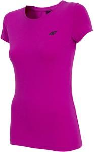 Różowy t-shirt 4F z bawełny