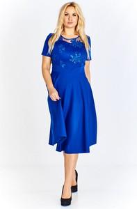 Sukienka Fokus midi rozkloszowana z krótkim rękawem