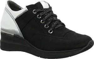 Czarne buty sportowe Gino Fabiani na platformie ze skóry