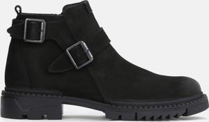 Czarne buty zimowe Kazar w stylu casual z klamrami ze skóry