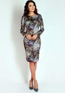Sukienka Nommo dopasowana midi z długim rękawem