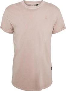 Różowy t-shirt G-star z krótkim rękawem z okrągłym dekoltem