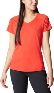 Czerwona bluzka Columbia w sportowym stylu z krótkim rękawem