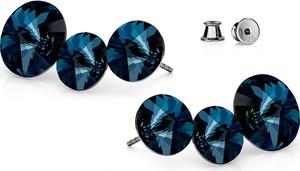 GIORRE SREBRNE POTRÓJNE KOLCZYKI SWAROVSKI RIVOLI 925 : Kolor kryształu SWAROVSKI - Montana, Kolor pokrycia srebra - Pokrycie Czarnym Rodem