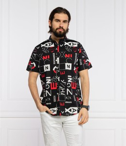 Czarna koszula Armani Exchange z krótkim rękawem z klasycznym kołnierzykiem