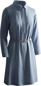 Niebieska sukienka RISK made in warsaw z długim rękawem mini