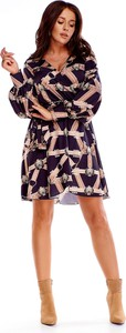 Sukienka Ptakmoda.com mini dla puszystych z długim rękawem