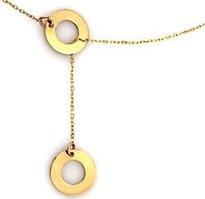 Lovrin Złoty naszyjnik 333 krawatka ringi kółeczka