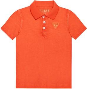 Pomarańczowa koszulka dziecięca Guess dla chłopców z krótkim rękawem