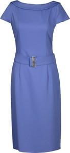 Niebieska sukienka Fokus z okrągłym dekoltem ołówkowa