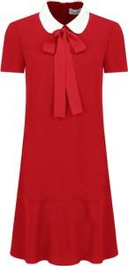 Czerwona sukienka Red Valentino w stylu casual z żabotem mini