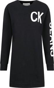 Czarna sukienka Calvin Klein w stylu casual z długim rękawem z okrągłym dekoltem
