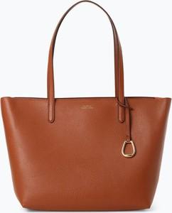 Brązowa torebka Lauren Ralph Lauren z breloczkiem na ramię ze skóry