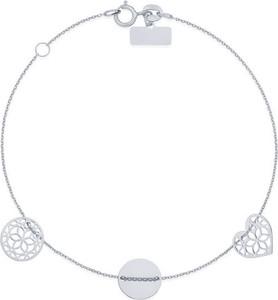 0bf13d112ebc3f producent niezdefiniowany Srebrna bransoletka 925 Ażur serce, koło, coin
