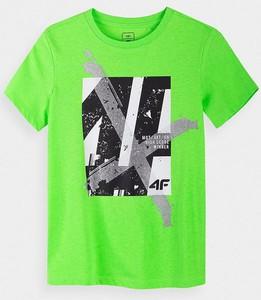 Zielona koszulka dziecięca 4F dla chłopców z krótkim rękawem z bawełny