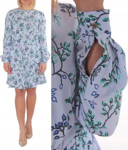 Niebieska sukienka Tommy Hilfiger z okrągłym dekoltem w stylu casual z długim rękawem