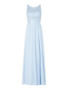 Niebieska sukienka Luxuar z satyny bez rękawów
